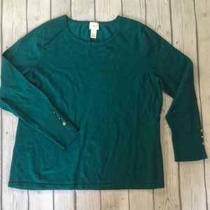 Chico's long sleeve emerald green sweater
